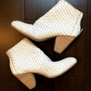 White Woven Leather Booties